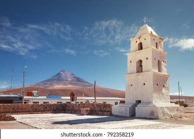 Tower of the church of Cariquima, near Colchane, in the Tarapaca region, in the foothills of the Cariquima mountain, northern Chile