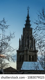 Tower of a church at the end of a cold winter afternoon in Spain
