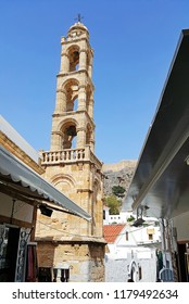 Tower of Church of Panagia in Lindos made of ancient stones