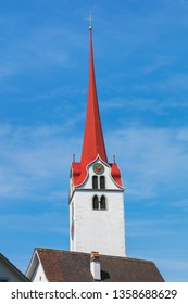 Tower of the City Church of Bremgarten (German: Stadtkirche Bremgarten) in the town of Bremgarten in the Swiss canton of Aargau.