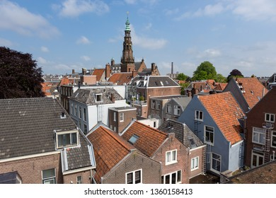 Tower of the cityhall and rooftops in Leiden the Netherlands.