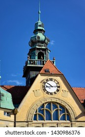 Tower with clock in Ptuj old Town Hall in Slovenia. Street Architecture in Slovenija. Travel