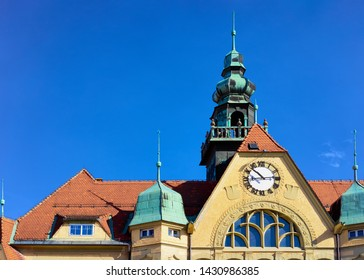Tower with clock of Ptuj old Town Hall in Slovenia. Street Architecture in Slovenija. Travel