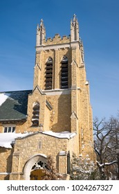 tower and corner entrance of landmark neo gothic church in hill district of saint paul ramsey county minnesota