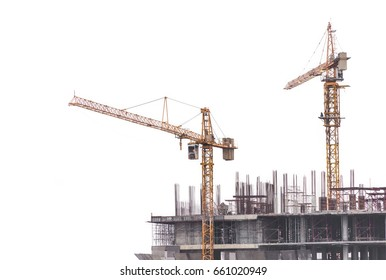 Tower Crane construction over building site isolated on white background