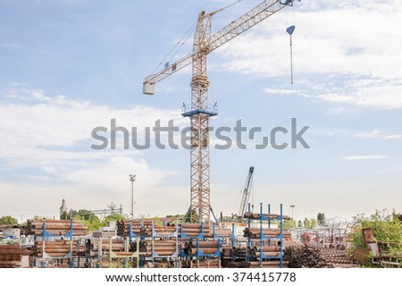 Tower Crane Excavation Site Laying Pipes Stock Photo Edit