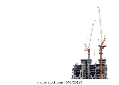 tower crane for high building construction with isolated white background