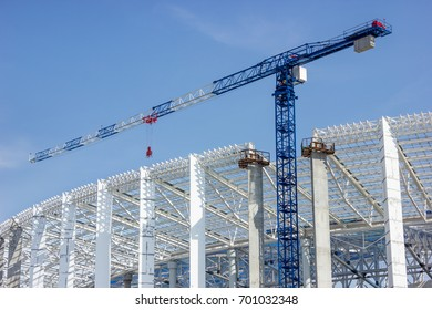 Tower crane on stadium construction in Nizhny Novgorod, Russia