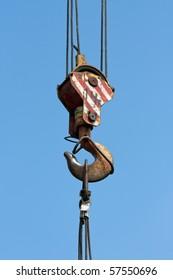 Tower crane with steel hook building metal construction