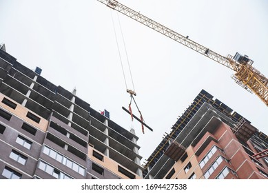 Tower crane working at construction site
