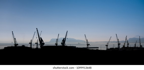 Tower cranes in the commercial seaport of Palermo