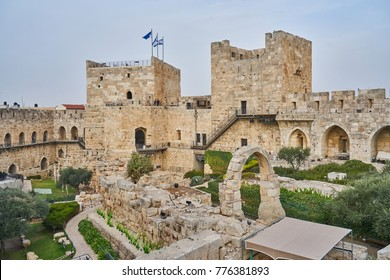 The Tower of David in ancient Jerusalem Citadel, near the Jaffa Gate in Old City of Jerusalem, Israel