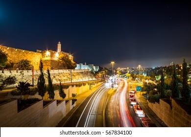 Tower of David by night in Jerusalem