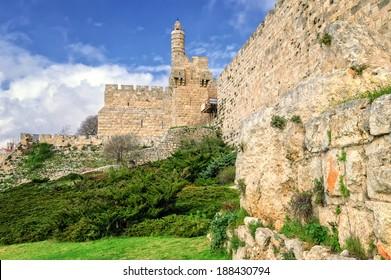 Tower of David and city wall, Jerusalem, Israel