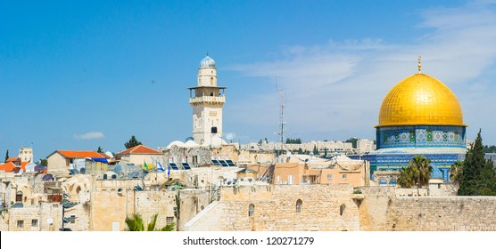 Tower of David and The dome of the Rock shrine, located in the center of the temple moun of Jerusalem, Israelt, is one of the most beautiful and enduring shrines in the World.