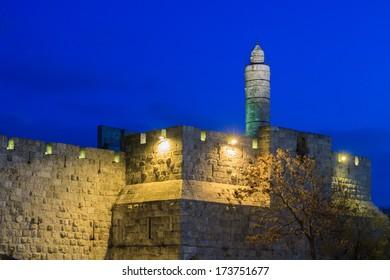 Tower of David in Jerusalem in a twilight, Israel