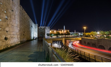 Tower of David (night, horizontal). Laser Show. The Old City in Jerusalem, Israel. The sign on the bridge says the maximum height of 4.45 m