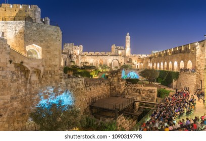 The Tower of David in the old city of Jerusalem at night