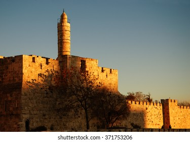 Tower of David (or Jerusalem Citadel) at golden sunset. Jerusalem (Israel).