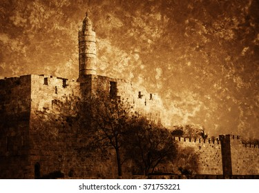 Tower of David (or Jerusalem Citadel) at sunset. Jerusalem (Israel). Retro aged toned photo with scratches. Sepia.