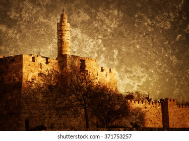Tower of David (or Jerusalem Citadel) at sunset. Jerusalem (Israel). Retro aged toned photo with scratches.