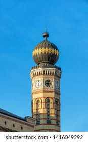 Tower of the Dohany Street Synagogue in beautiful historic Budapest, Hungary
