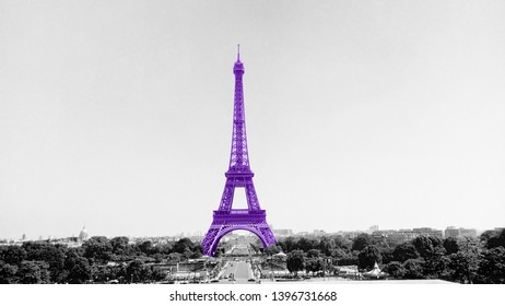 The Tower Eiffel painted in pale purple tint