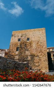 Tower at entrance to historic town, Tarragona, Spain - UNESCO World Heritage Site