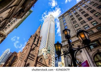 Tower of Fifth Avenue Presbyterian Church among Midtown Skyscrapers, Manhattan, New York