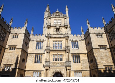 The Tower of the Five Orders housing the Bodleian Library in Oxford, England.  It is one of the oldest libraries in Europe.