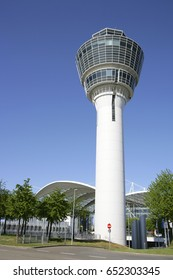 Tower at the Franz Joseph Strauss Airport Muenchen II, Terminal 2, Munich, Upper Bavaria, Germany, Europe, 3. May 2007