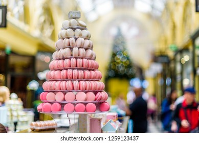 A tower of french macaroons for a christmas retail display