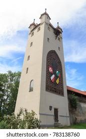 Tower Funfknopfturm in old town Kaufbeuren in Bavaria, Germany