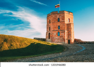Tower Of Gediminas (Gedimino) In Vilnius, Lithuania. Historic Symbol Of The City Of Vilnius And Of Lithuania Itself. Upper Vilnius Castle Complex. Summer. Tourist Destination