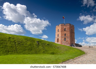 Tower Of Gediminas (Gedimino) In Vilnius, Lithuania. Historic Symbol Of The City Of Vilnius