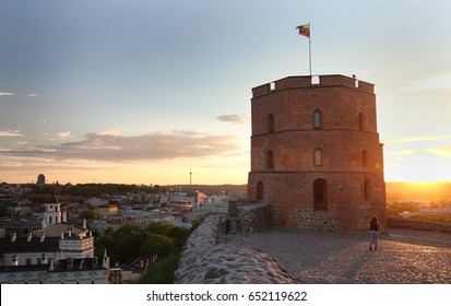 Tower Of Gediminas (Gedimino Tower) In Vilnius, Lithuania. Historic Symbol Of The City Of Vilnius And Lithuania. Upper Vilnius Castle Complex. Summer. Tourist Destination