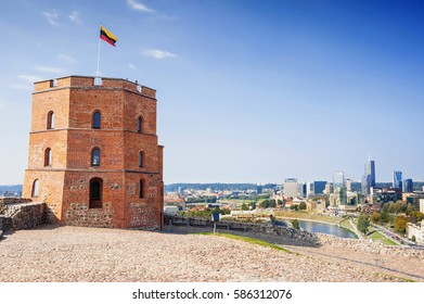 Tower of Gediminas In Vilnius, Lithuania. Historic symbol of the city of Vilnius and of Lithuania. Famous tourist destination