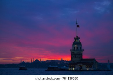 Tower of Girl and Istanbul silhouette at sunset,Istanbul,Turkey,January 2017