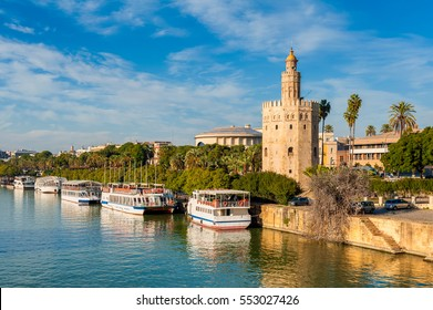 Tower of Gold along the Guadalquivir River in Seville, Southern Spain