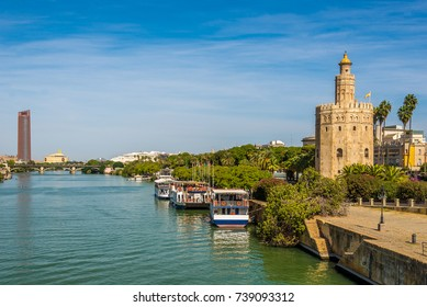 Tower of gold (Torre del Oro) with Guadalquivir river in Sevilla - Spain