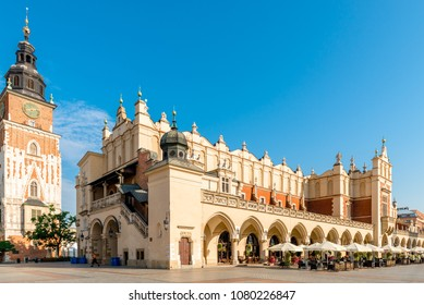 Tower Hall and shopping arcade in the main square of Krakow in Poland