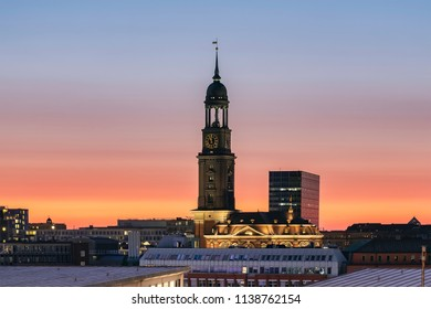 The tower of the iconic St. Michael's Church, Hamburg, Germany