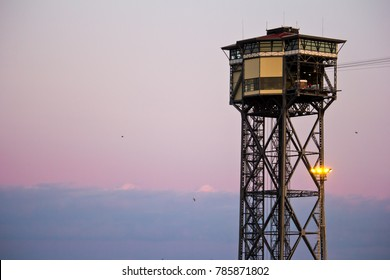 tower Jaume 1 and teleferic in Barcelona, Spain, Catalonia