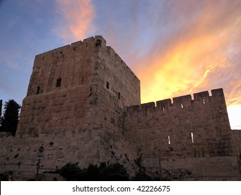 Tower of Jerusalem old city wall against sunset