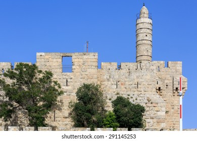 The tower of King David at the old city walls of Jerusalem