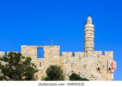 Tower of King David over old city walls of Jerusalem