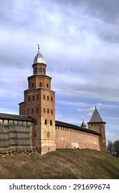 Tower Kokui of Novgorod Kremlin. Veliky Novgorod, Russia