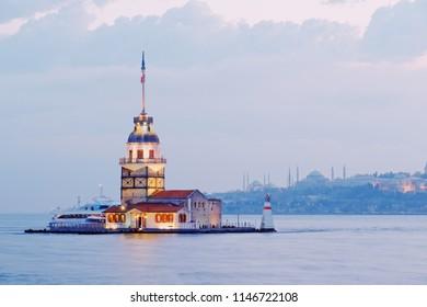 Maiden's Tower or kulesi ,kiz famous landmarks at Istanbul in Turkey.