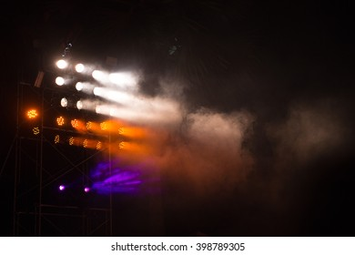 tower of lighting effects in concert hall