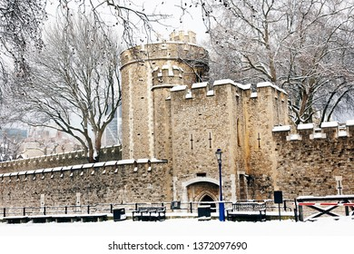 Tower of London, Her Majesty's Royal Palace and Fortress, Borough of Tower Hamlets, on snowy day. Now the castle is a popular tourist attraction.